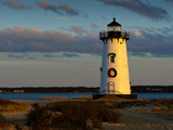 Edgartown Lighthouse at Christmas on Martha's Vineyard at Sunset