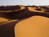 Sunset Light Strikes the Large and Expansive Sand Dunes of Erg Zehar  Near M'Hamid  Morocco