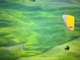 Paragliding Among the Picturesque  Wheat Covered Hills of the Palouse in Eastern Washington at Dusk