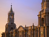 Arequipa Cathedral La Catedral at Sunset on Plaza De Armas  Arequipa  Peru