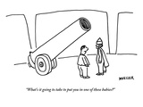"""What's it going to take to put you in one of these babies"" - New Yorker Cartoon"
