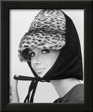 Nicole de la Marge in an Otto Lucas Jersey Scarf over an Ocelot Hat  1964
