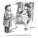 """Let's try one with your hand tucked into your shirt"" - New Yorker Cartoon"