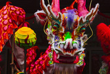Dragon Dance Celebrating Chinese New Year in China Town  Manila  Philippines