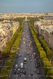View Down Champs Elysees from the Top of Arc De Triomphe  Paris  France