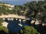 Boats Moored at Calanque De Port-Pin  Bouches-Du-Rhone  France