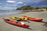 Kayaks  Doctors Point  Mapoutahi Pa  Maori Pa Site  South Island  New Zealand