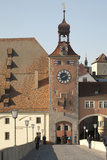Tower Entrance  Old Town from Stone Bridge  Danube River  Regensburg  Germany