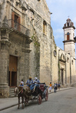 Horse Carriage Passes by Cathedral of Havana in the Historic Center  Havana  Cuba