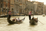 Tourist Ride in Gondolas on the Grand Canal in Venice  Italy