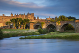 Setting Sunlight  Carcassonne and River Aude  Languedoc-Roussillon  France