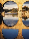 View of Pont Du Gard Bridge  Gardon River  Languedoc  France