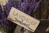 Farm Sign with Dried Lavender for Sale at Lavender Festival  Sequim  Washington  USA