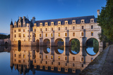 Twilight over Chateau Chenonceau and River Cher  Indre-Et-Loire  Central France