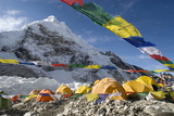 Tents of Mountaineers Scattered Along Khumbu Glacier  Base Camp  Mt Everest  Nepal