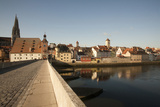 Historic Stone Bridge over the Danube River Built 1135  Germany