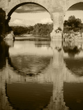 View of Pont Du Gard Bridge  Gardon River  Languedoc  France