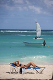 Woman Sunbathing on Bavaro Beach  Higuey  Punta Cana  Dominican Republic
