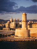 View of Marseille Cathedral De La Major and Fort St Jean  France