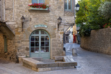 Early Morning Restaurant and Street in Carcassonne  Languedoc-Roussillon  France