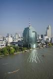 Downtown Bangkok Skyline View with Chao Phraya River  Thailand