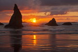 Sunset Silhouettes Seastacks  Bandon Beach  Oregon  USA