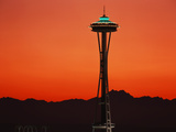 Space Needle at Sunset  Seattle  Washington  USA