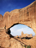 Double Arch Frames Tunnel Arch  Arches National Park  Utah  USA