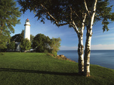 View of Lake Huron  Ponte Aux Barques Lighthouse  Michigan  USA
