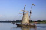 Tall Wooden Ship Sails in the Savannah River  Savannah  Georgia  USA