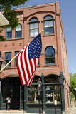 Historic Store Front with Us Flag  New Bedford  Massachusetts  USA