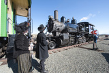 Period Dress at Historic Gold Hill Train Station  Virginia City  Nevada  USA