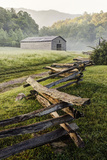 Pioneer's Barn  Split Rail Fence  Cades Cove  Great Smoky Mountains National Park  Tennessee  USA