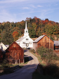 Waits River  View of Church and Barn in Autumn  Northeast Kingdom  Vermont  USA