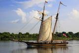 Tall Wooden Ship Sail in the Savannah River  Savannah  Georgia  USA