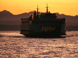 Ferry Boat at Sunset  Washington  USA