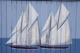 Painted Fence with Boat  H Lee White Marine Museum  Oswego  New York  USA