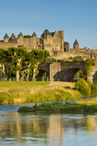 River Aude  Old Bridge  Medieval Town  Carcassonne  Languedoc-Roussillon  France