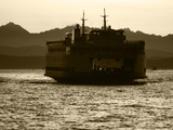 Ferry Boat at Sunset  Washington  USA