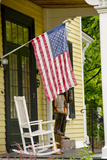 Historic Cooperstown House with Flag  Cooperstown  New York  USA