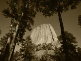 Devil's Tower National Monument at Dusk  Hulett  Wyoming  USA