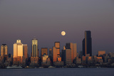 Skyline and Elliott Bay with Full Moon Rising  Seattle  Washington  USA