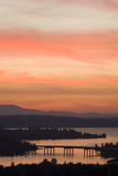 Skyline and Olympic Mountains  Sunset  Lake Washington  Seattle  Washington  USA