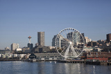 Seattle Waterfront with the Great Wheel on Pier 57  Seattle  Washington  USA