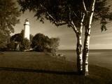 View of Lake Huron  Ponte Aux Barques Lighthouse  Michigan  USA