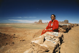 USA  Arizona  Woman Sitting with Bead Necklaces Near Monument Valley