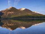 Swan Mountains in Holland Lake at Sunset in the Lolo National Forest  Montana  USA