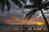 Beach with Palm Trees at Sunset  Boracay Island  Aklan Province  Philippines
