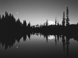 Full Moon in Upper Tipsoo Lake  Mount Rainier National Park  Washington  USA
