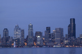 Skyline and Elliott Bay at Dusk  Seattle Great Wheel  Seattle  Washington  USA